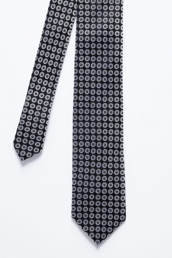 black and white floral silk tie 8KT9200