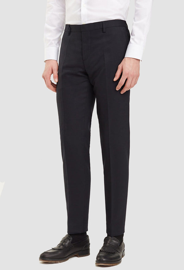 a close up look at the details on the Tommy Hilfiger slim fit virgin wool suit trouser in black
