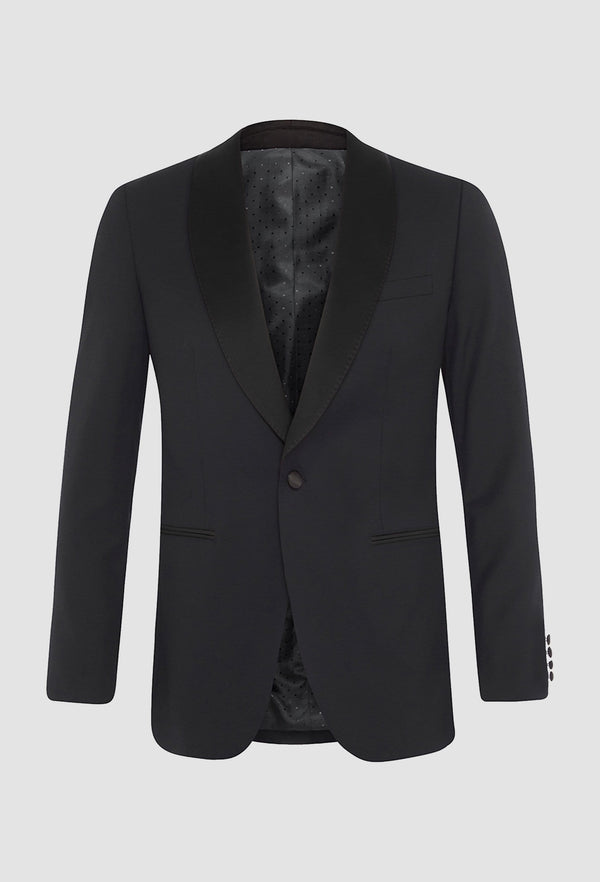 a frontal view of the Uberstone slim fit maximus evening suit in ink pure wool with a black satin lining and satin lapel on a grey background