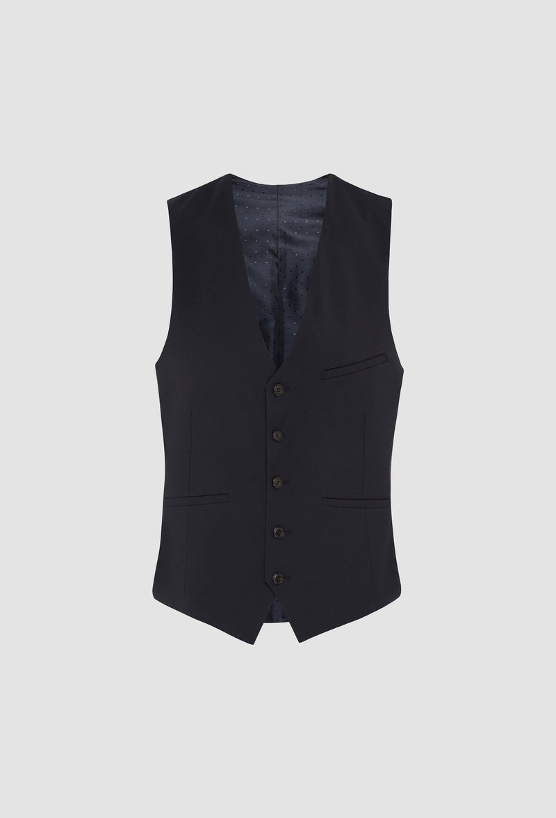 a close up view of the uberstone slim fit tom vest in ink pure wool with satin lining and a five button front