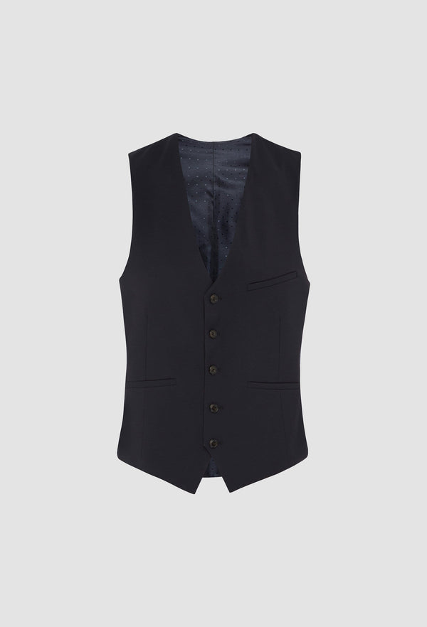 a frontal view of the uberstone slim fit tom vest in ink pure wool