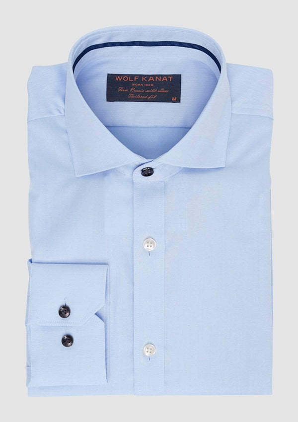 wolf kanat shirt in light blue twill cotton folded neatly showing the collar and cuff details 6WKS834