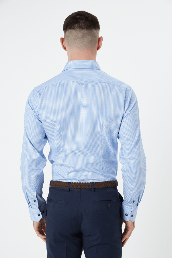 the back view of the wolf kanat slim fit romanov business shirt in blue broken herringbone fabric, with darts at the back for a tapered fit