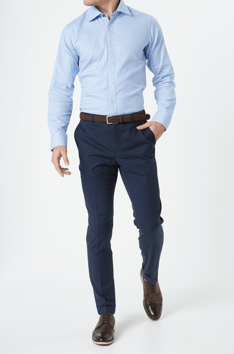 a front view of the wolf kanat herringbone cotton mens business shirt in blue