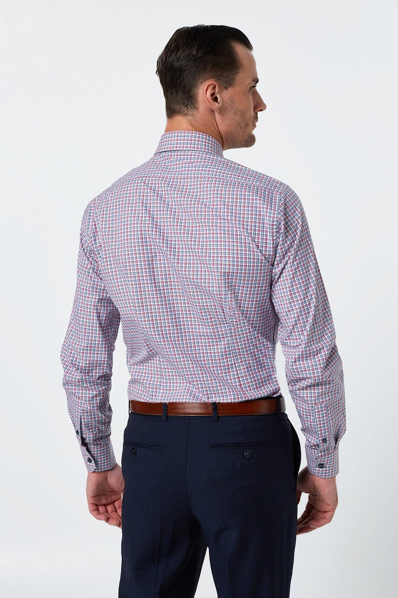 Wolf Kanat slim fit romanov shirt in red and blue check pure cotton