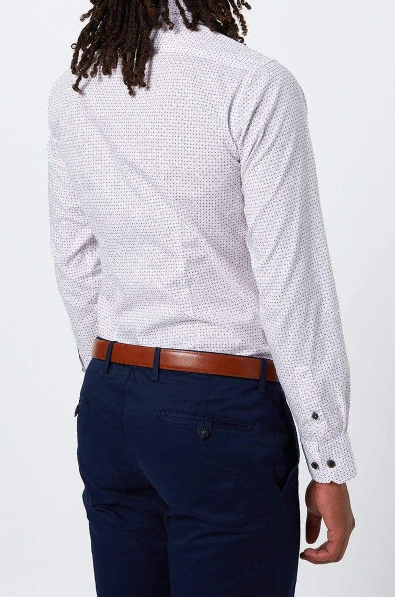 the back of the wolf kanat slim fit business shirt in white with a geometric print