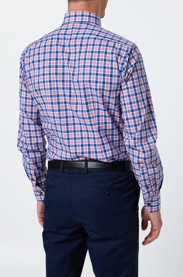 the wolf kanat slim fit romanov business shit in indigo and berry check print 8WKS908