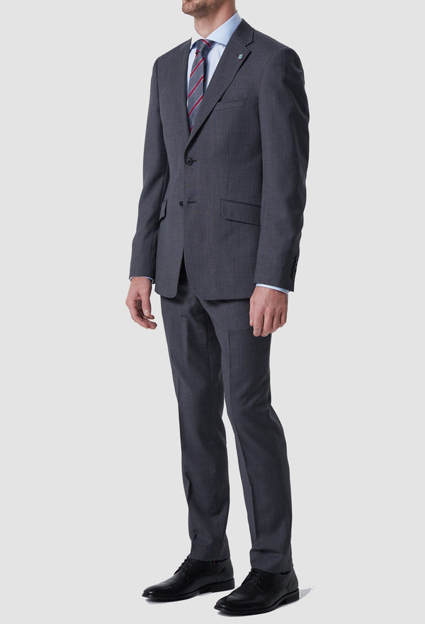a full length view of the wolf kanat slim fit hearts suit trouser in grey pure wool styled with the matching hearts jacket 6WK8212