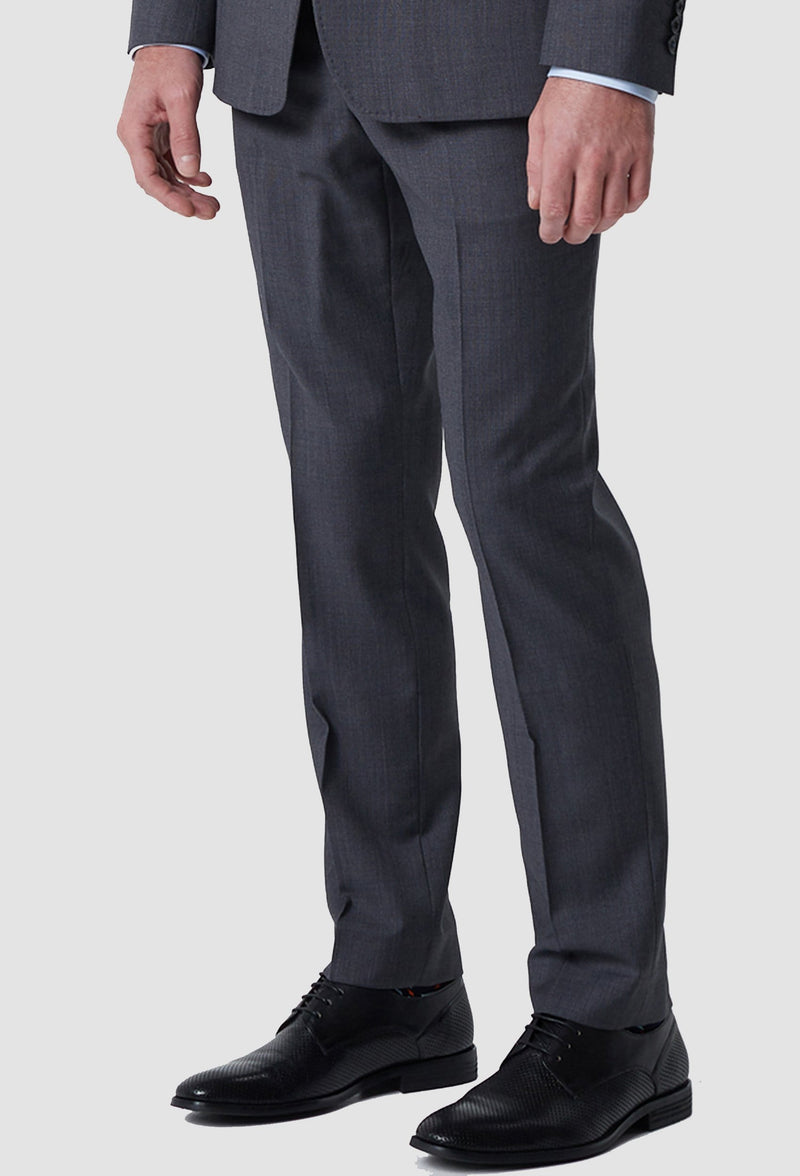 a close up view of the wolf kanat slim fit hearts suit trouser in grey pure wool 6WK8212