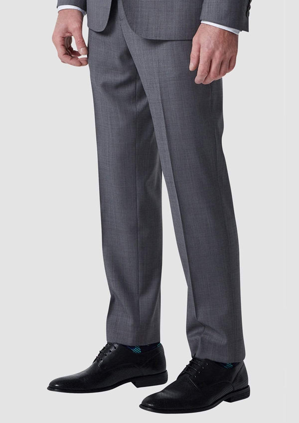 the regular fit on the wolf kanat caviar grey sharkskin mens suit trousers