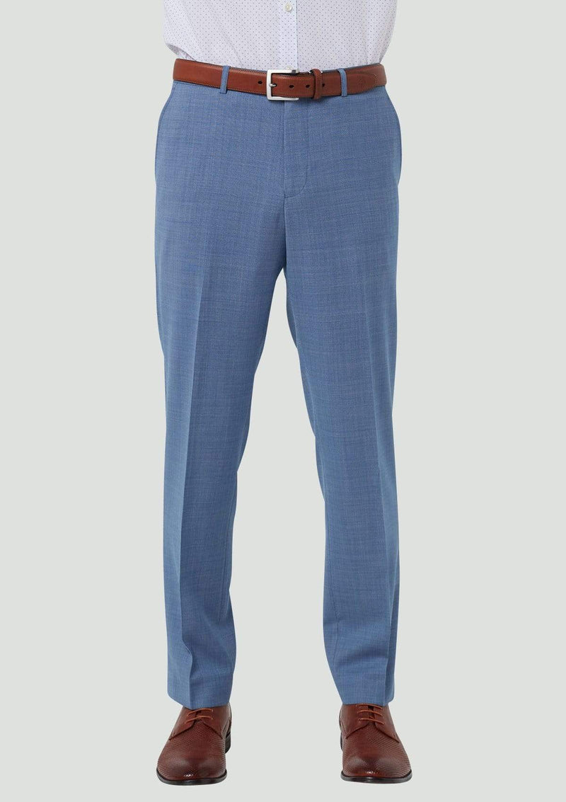 the front view of the wolf kanat slim fit caviar mens suit trouser in light blue pure wool 7WK8223