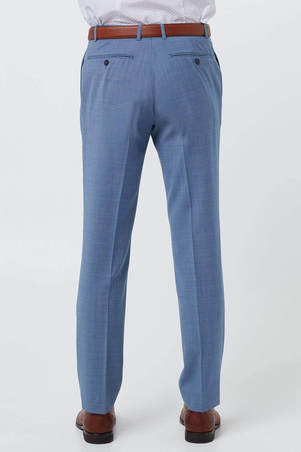 a back view of the wolf kanat slim fit caviar mens suit trouser in light blue pure wool 7WK8223
