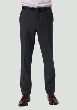 wolf kanat slim fit hearts suit trouser product code 8WK9008 in pure wool charcoal and red check