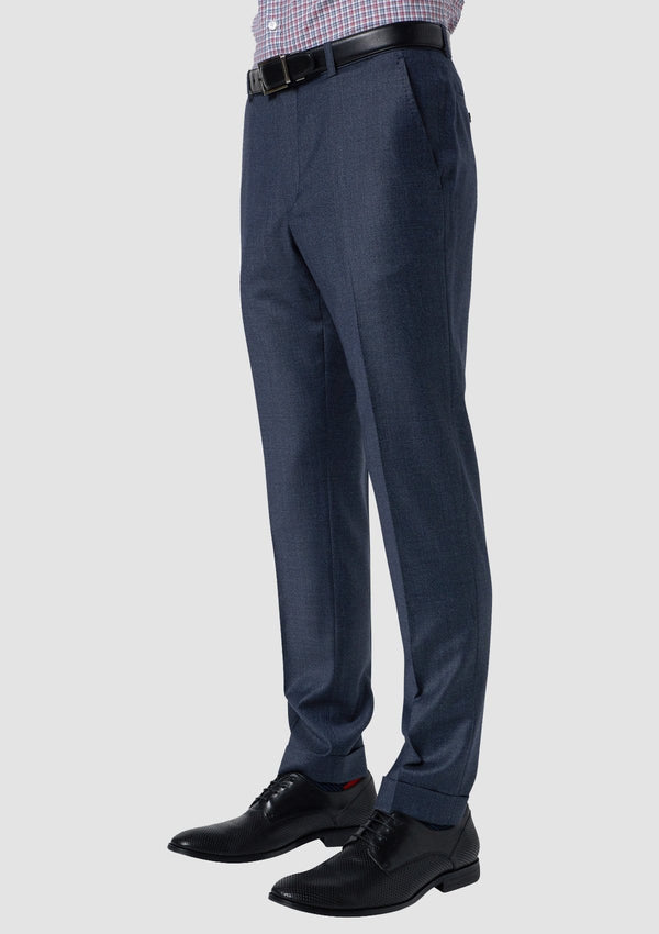 a side view of the wolf kanat slim fit hearts trouser in blue melange super 100s wool 8WK9015 suit trouser