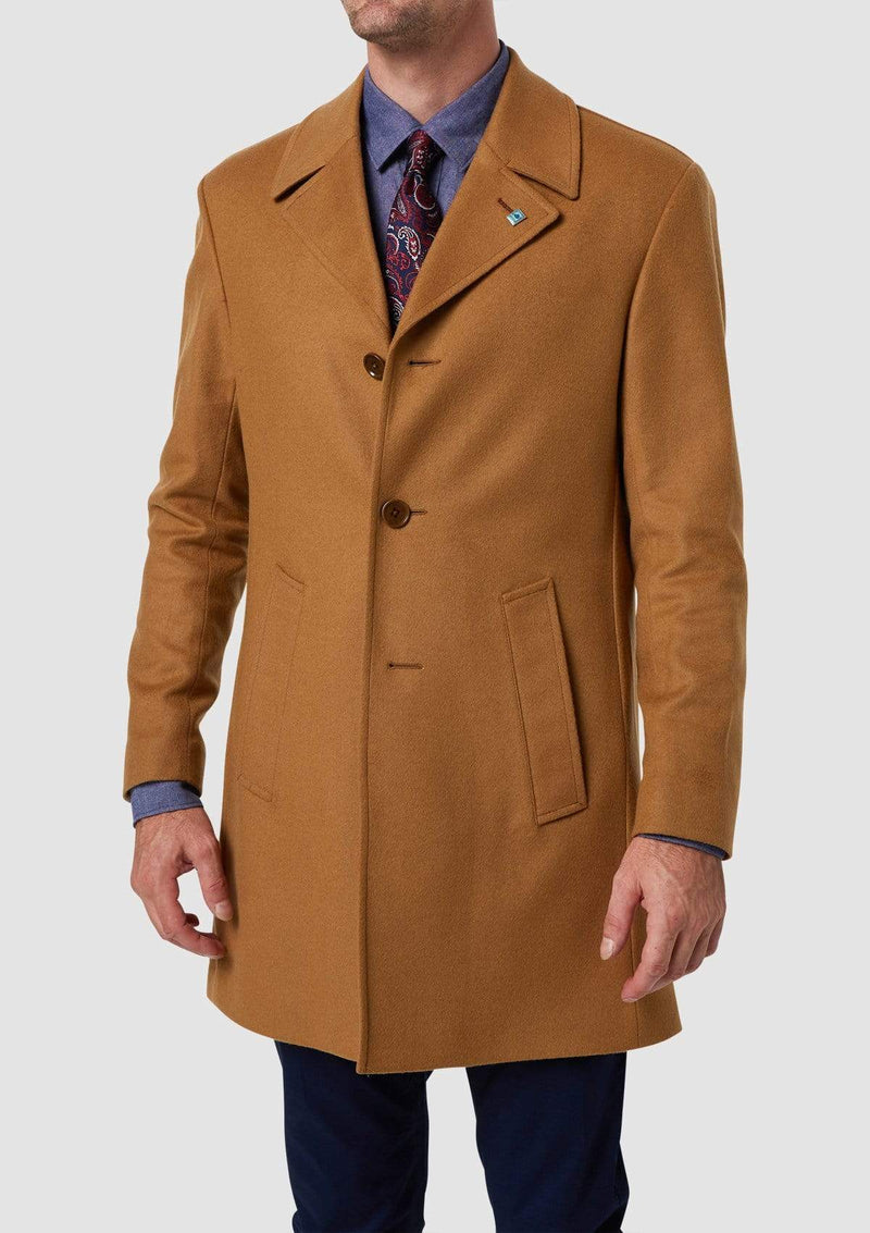 Tan coloured winter overcoat by wolf kanat with a slim fit, italian wool blend and two front pockets Rain 4WK7216