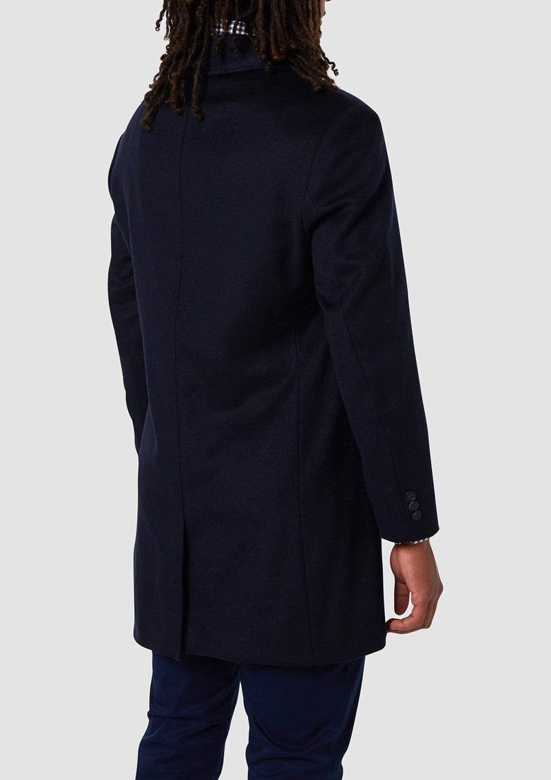 the back view of the wolf kanat slim fit mens coat in navy italian wool blend - Rain 4WK7216