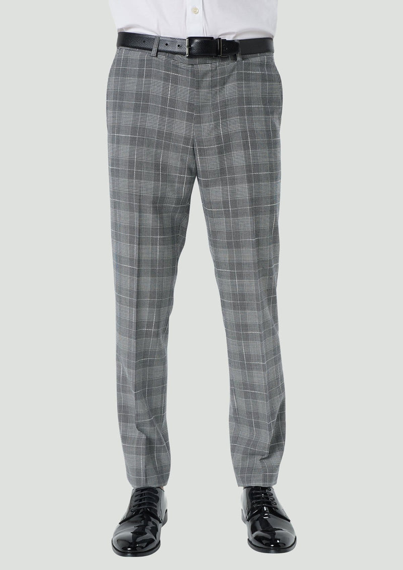 a front view of the wolf kanat slim fit hears trouser in black and white check 9WK9019