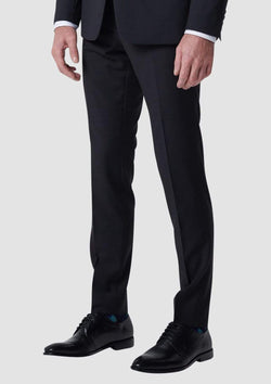 a side view of the wolf kanat wrinkle resistant mens suit trouser in black pure wool 1F1109.