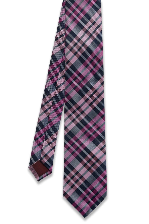 pink and navy plaid mens silk tie by wolf kanat
