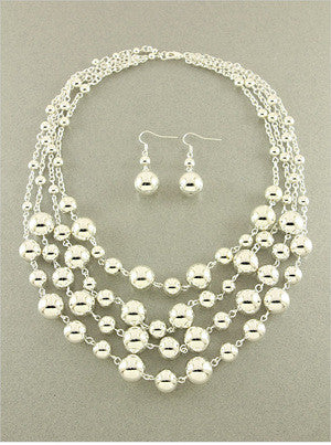 Metal Ball Multi-Strand Necklace Set - Dear Reverie
