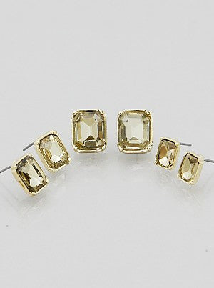 3 Pair Rectangle Stud Earrings Set - Dear Reverie