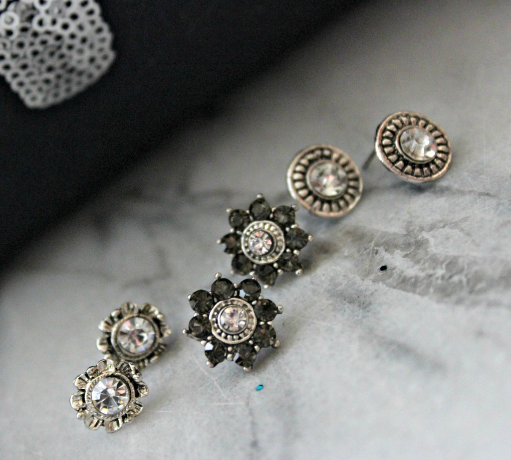 New! 3 Piece Sparkle Earring Set - Dear Reverie