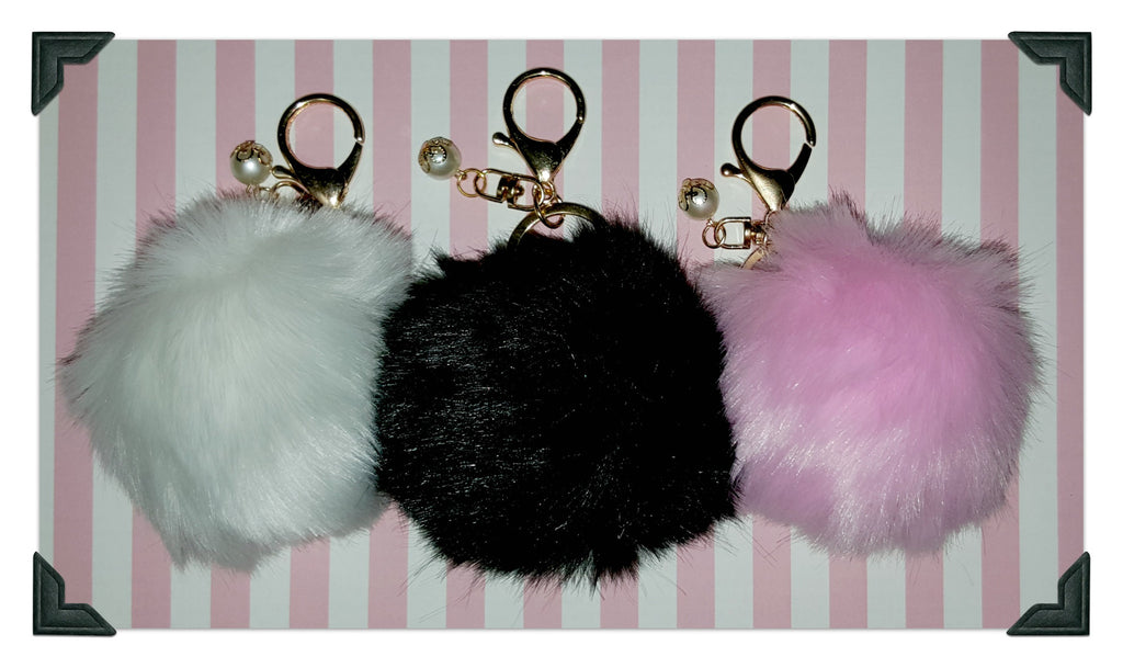 The Power of the Puff! Faux Fur Keychains! (Available in Black, White, or Pink) - Dear Reverie