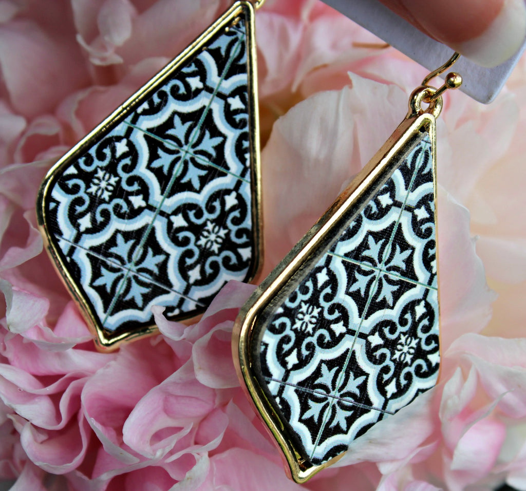Moroccan Print Wood Earrings - Dear Reverie