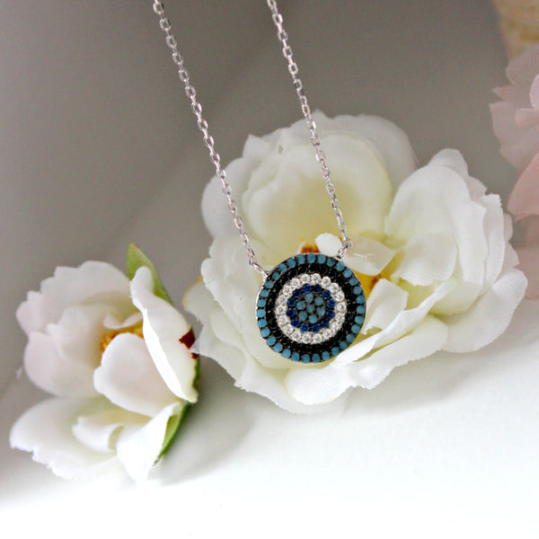 Turquoise and Sapphire Bullseye Necklace - Dear Reverie