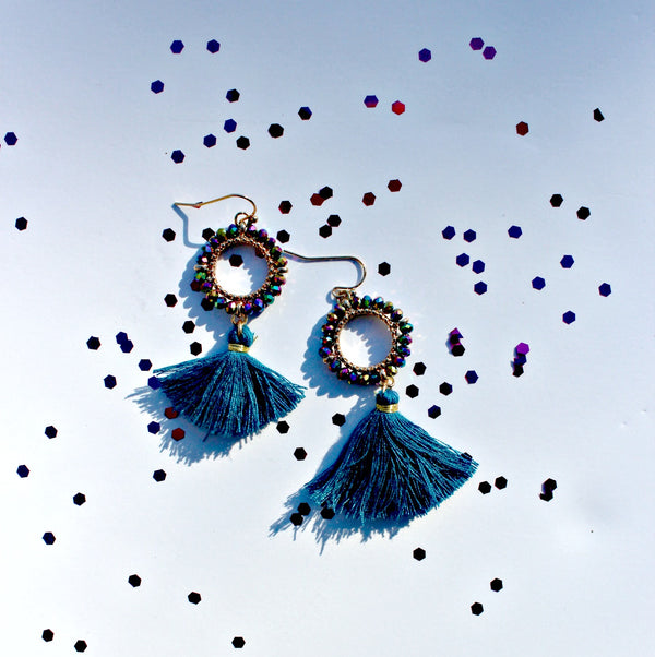 Glass Bead & Tassel Thread Earrings (Teal or Lavendar) - Dear Reverie