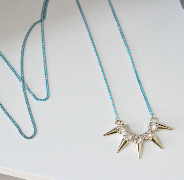 Blue & Matte Gold Stud Necklace - Dear Reverie