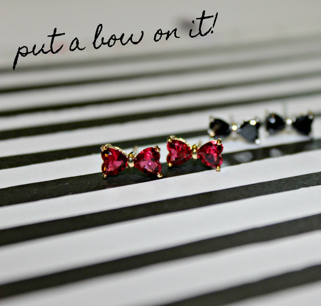 Crystal Bow Stud Earrings (Pink or Black) - Dear Reverie
