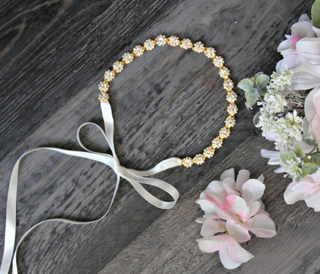 Gold Crystal Ribbon Headband - Dear Reverie