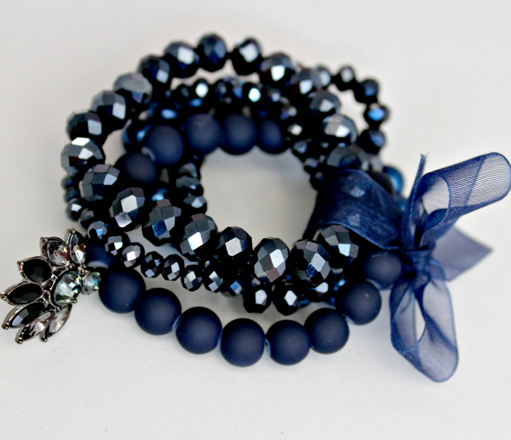 Call Me Navy Beaded Bracelet Stack - Dear Reverie