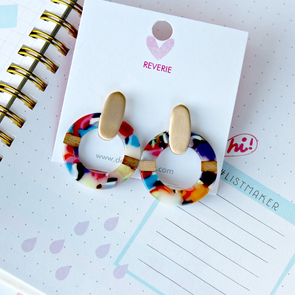 Multicolored Circle Post Earrings - Dear Reverie