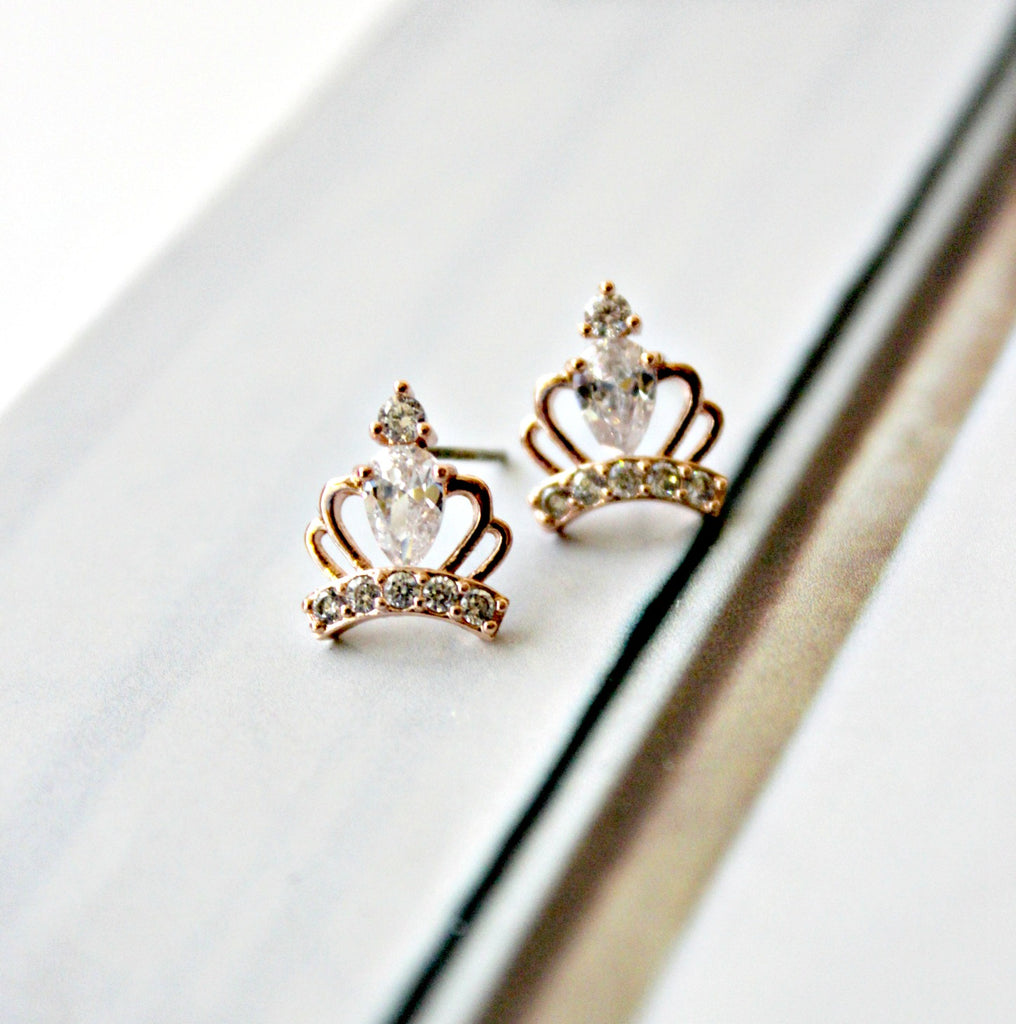 Crown Stud Earrings (Silver or Rose Gold) - Dear Reverie