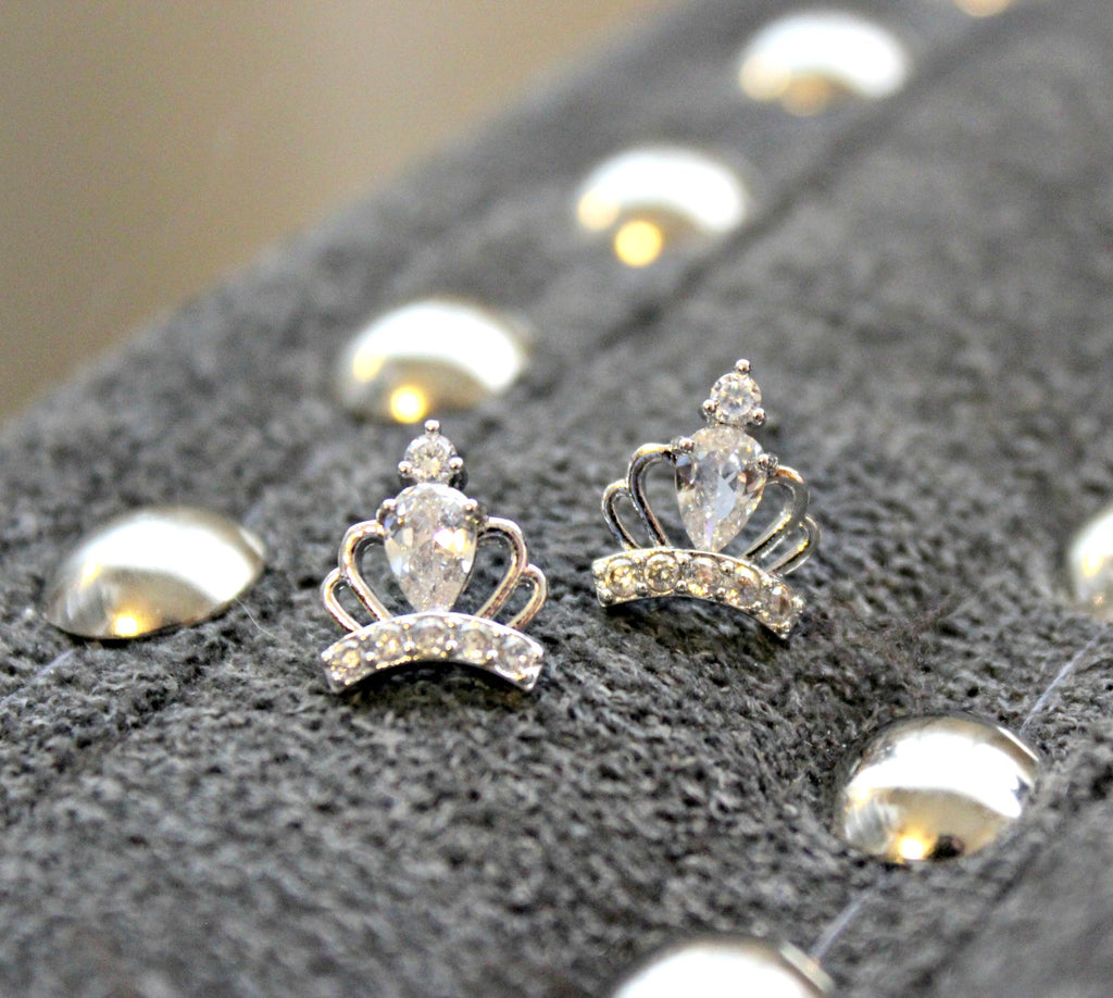d jewellery for girls sterling crown silver diamond stud earrings
