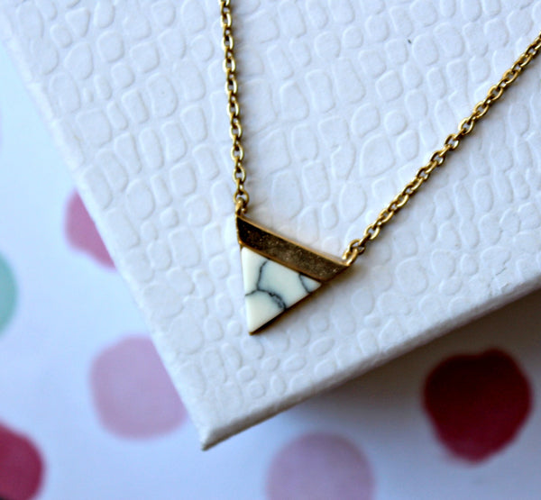 Dainty Triangle Stone Necklace - Dear Reverie