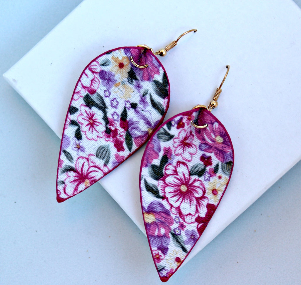 Floral Print Petal Earrings - Dear Reverie
