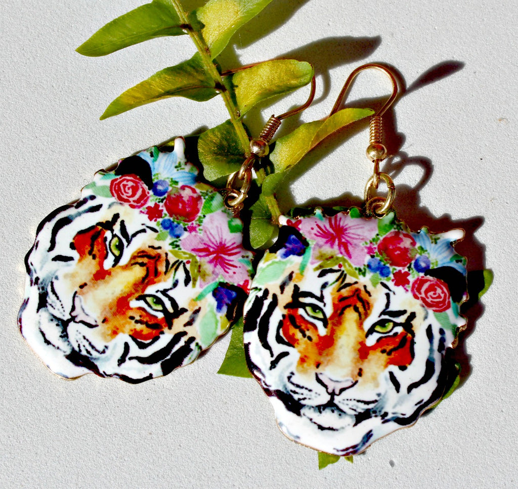 Floral Tiger Earrings - Dear Reverie