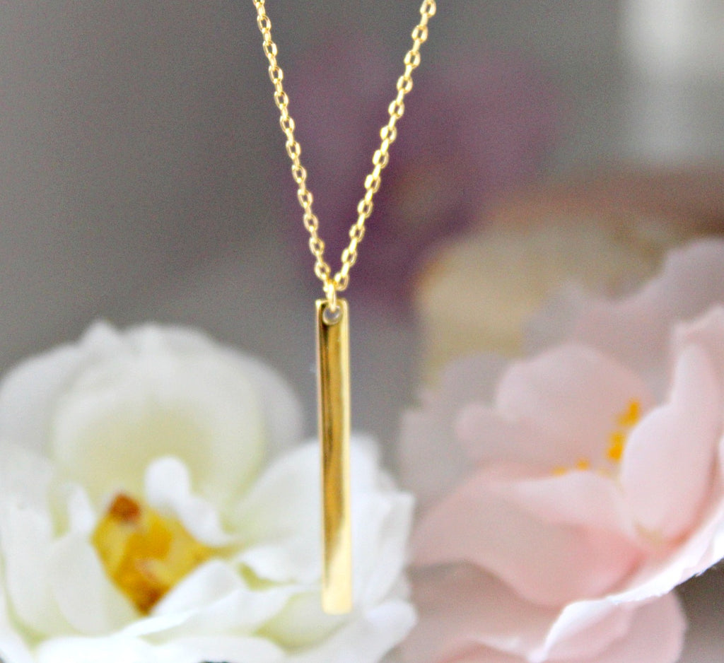 Gold Bar Drop Necklace - Dear Reverie