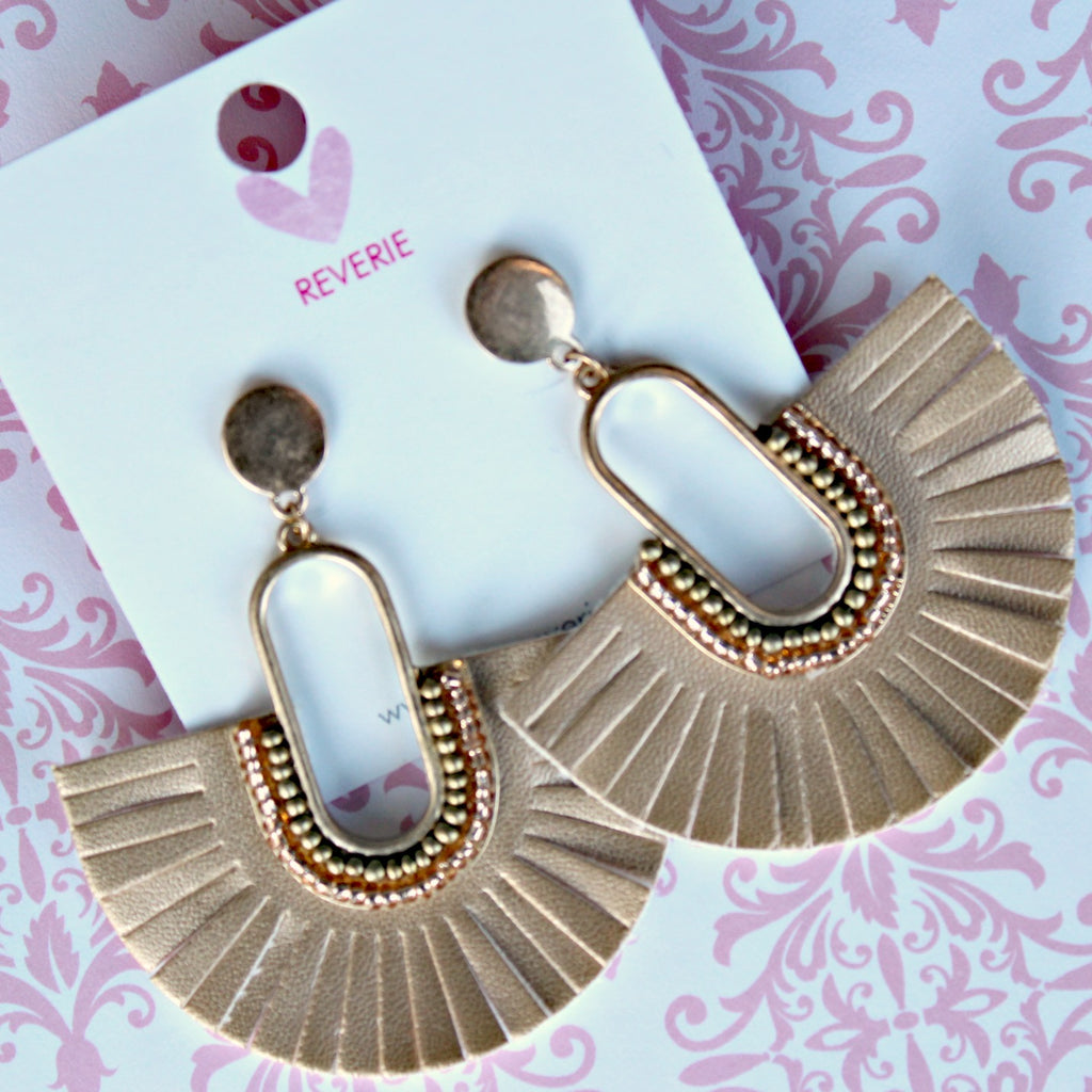 Gold Leatherette Fan Earrings - Dear Reverie
