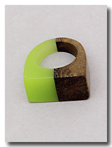 Wood & Lime Split Ring - Dear Reverie