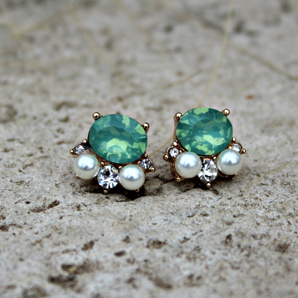Faux Gem Crystal Stud Earrings (Rose, Mint, or Silver) - Dear Reverie