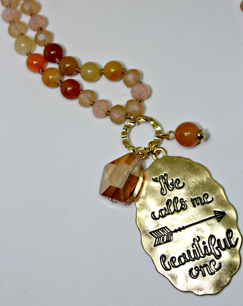 Engraved Gold Tag Beaded Necklace Set - Dear Reverie