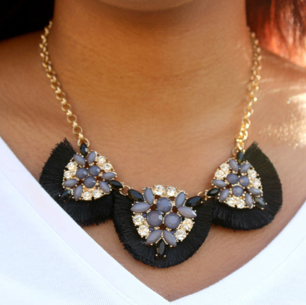 Ebony Fringe Necklace Set - Dear Reverie