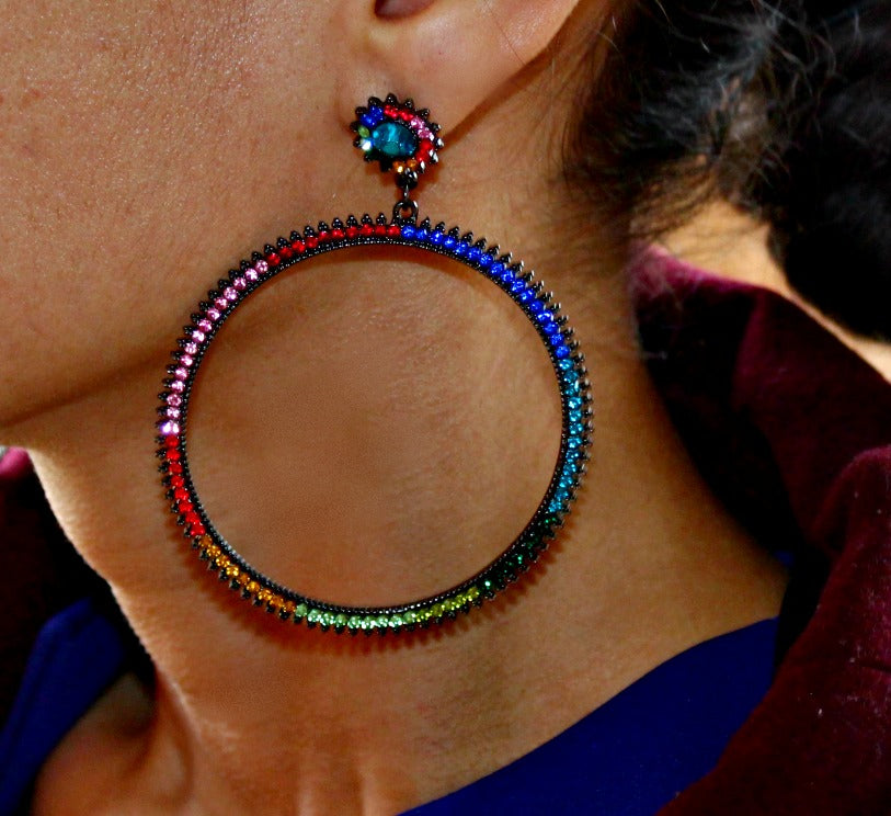 Colorful Crystal Hoops - Dear Reverie