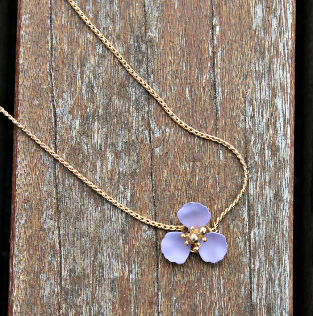 Matte Flower Pendant Necklace (Mint, Lavender, or Grey) - Dear Reverie