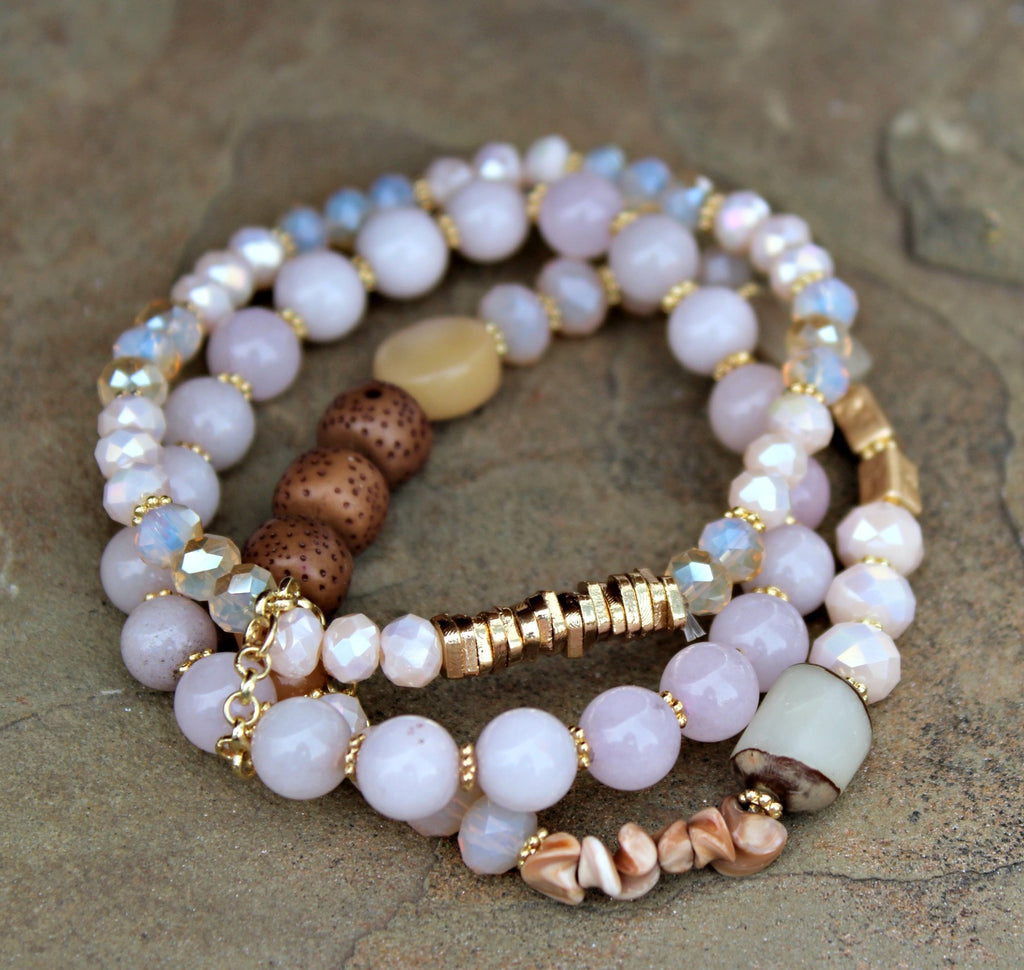 Rose & Ivory Mix Beads Stack - Dear Reverie