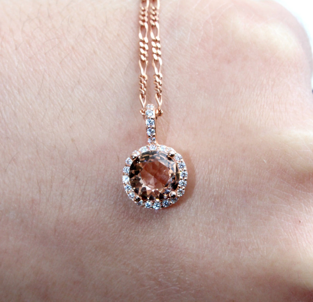 Halo Rose Gold Plated Morganite Necklace - Dear Reverie